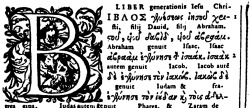 Matthew 1:1 in Plantin's 1584 Greek Latin Polyglot