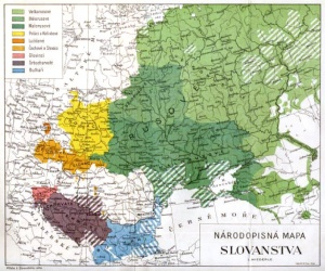 Ethnographic map of the Slavic peoples prepared by Czech ethnographer Lubor Niederle showing territorial boundaries of Slavic languages in Eastern Europe in the mid 1920s