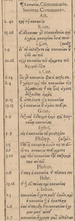 κοινωνια in Greek in the 1600 Greek concordance of Beza