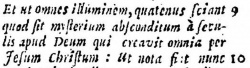 Latin translation of the Arabic at Ephesians 3:9 in Brian Walton's 1657 Polyglot