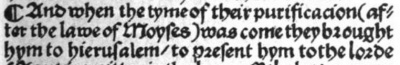 Luke 2:22 in the 1526 Tyndale Bible
