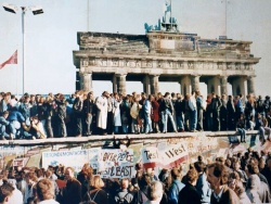The Berlin Wall in front of the Brandenburg Gate shortly after the opening in 1989.